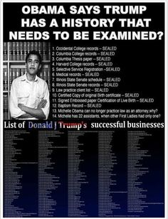 obama says trump has a history that needs to be examined? give me a break! Liberal Hypocrisy, Liberal Logic, Politicians, Occidental College, Columbia College, Thing 1, Illinois State, Conservative Politics, It Goes On