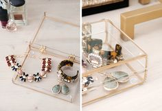 Gold rimmed jewelry box (Add dividers/small clear boxes to keep items separate/organized?)