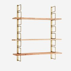 A beautiful wall shelf with 3 adjustable shelves of mango wood and brass iron holders. Display your plants, collections, books or use it in your kitchen for pretty jars or crockery. ;Size: 13 × 64 × 74 cm Material: Wood Unique Wall Shelves, Wood Wall Shelf, Wooden Shelves, Office Wall Shelves, Pegboard Display, Display Shelves, Box Shelves, String Regal, Vintage Shelving