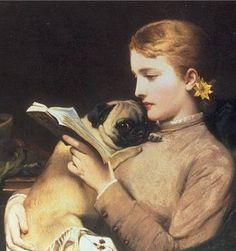 Charles Burton Barber, 1879, Jeune fille au carlin en train de lire ( Girl reading and a pug).