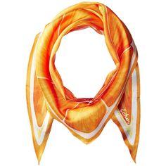 Echo Design Slice O'Fruit Silk Diamond Scarf (Orange) ($39) ❤ liked on Polyvore featuring accessories, scarves, silk shawl, patterned scarves, orange scarves, silk scarves and orange silk scarves