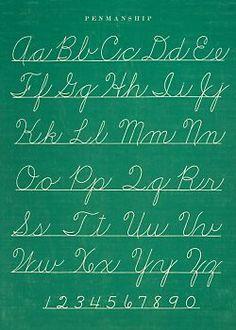 Penmanship Chart Cursive Writing Poster Wrapping Paper Chalkboard Look Sweet Memories, Childhood Memories, School Memories, Childhood Images, 1970s Childhood, Alphabet Cursif, Teaching Cursive Writing, Script Writing, Handwriting Analysis