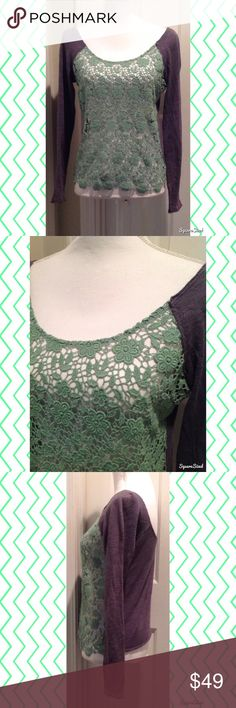 Free People Green & Gray Crotchet Top Size: SP. 100% Cotton. Free People Tops Tees - Long Sleeve