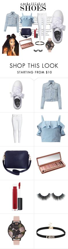 """""""Embellished shoes #1"""" by shekb ❤ liked on Polyvore featuring Puma, J Brand, Miss Selfridge, Humble Chic, Urban Decay, MAC Cosmetics, Olivia Burton, white and Blue"""