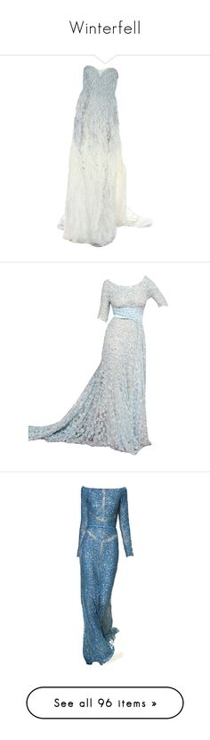 """Winterfell"" by kate7695 ❤ liked on Polyvore featuring dresses, gowns, long dresses, vestidos, prabal gurung dress, prabal gurung, vestido, blue, blue evening dresses and blue ball gown"