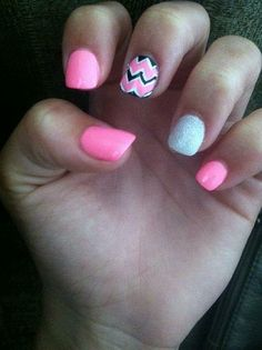 New pink chevron nails