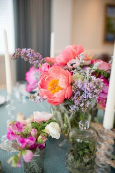 #coral #violet #centerpiece | Photography by theomilophotography.com, Florals by http://www.kimfisherdesigns.com  Read more - http://www.stylemepretty.com/2013/09/13/bald-head-island-wedding-from-theo-milo-photography-2/