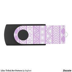 Lilac Tribal Art Pattern Swivel USB 2.0 Flash Drive
