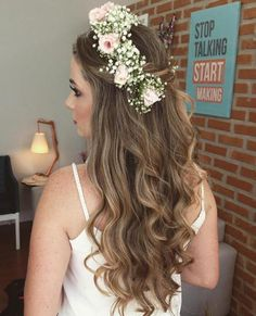 Simple Bridal Half Updo With A Flower Crown