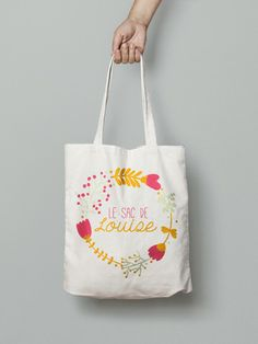 Tote bag coton personnalisé - vintage fleurs   Idéal pour un cadeau de naissance original ou pour la viequotidienne, le tote bag est entièrement personnalisable.  Il peut ê - 17377727