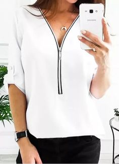 Black Friday Solid Casual V-Neckline Half Sleeve Blouses - Floryday Womens Fashion Online, Latest Fashion For Women, Floryday Dresses, Online Shopping, Half Sleeves, Black Friday, Neckline, Long Sleeve, Casual