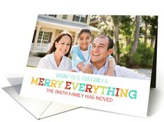 Merry Everything We've Moved Custom Name Photo card by Dreaming Mind Cards