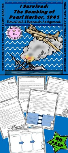 'I Survived the Bombing of Peal Harbor' is a great resource for incorporating history into reading and writing! This 'I Survived the Bombing of Pearl Harbor Novel Unit and Research Project' includes comprehension questions and vocab for every chapter, additional worksheets and activities, quiz, final test, and answer keys. Materials have been included for students to research the events of Pearl Harbor after reading the book.