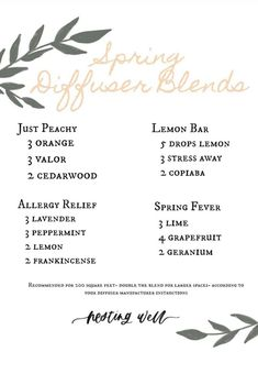 Young Living Diffuser, Young Living Oils, Young Living Essential Oils, Spring Allergies, Essential Oil Perfume, Essential Oil Diffuser Blends, Diffuser Recipes, Aromatherapy Recipes, Yl Oils