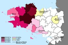 Breton language - Regional statistics of Breton speakers, in 2004