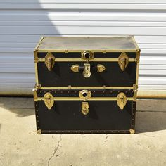 Pair of Trunks with Brass Tone Hardware