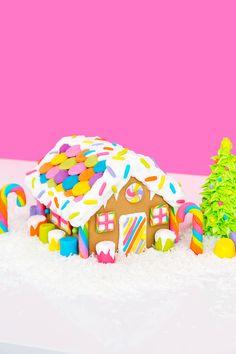 DIY Rainbow Lisa Frank Gingerbread House