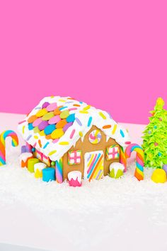 DIY Rainbow Lisa Frank Gingerbread House