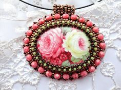Beadwork Rose Necklace Bead Embroidered Flower by KristinesBeads