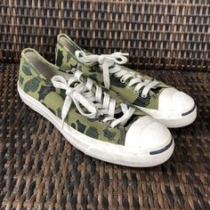 c5dfb6bb0132cd Jack Purcell Converse Mens 10.5 Camo Green Print Preowned