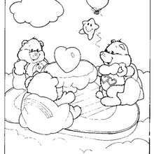 Care Bears and hearts coloring page - Coloring page - CHARACTERS coloring pages - TV SERIES CHARACTERS coloring pages - CARE BEARS coloring pages - CARE BEAR coloring pages