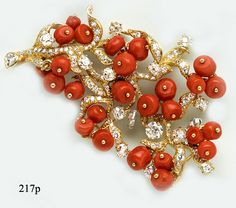 Coral Bead, Diamond and Gold Branch Brooch by Julius Cohen at Nelson Rarities,Inc.