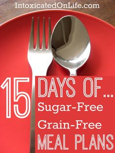 Nutrition - Healthy Eating : 15 Days of Sugar-Free & Grain-Free Meal Plans. - All Fitness Sugar Detox Recipes, Candida Recipes, Sugar Free Recipes, Paleo Recipes, Whole Food Recipes, Cooking Recipes, Sugar Free Meals, No Sugar Snacks, Catering