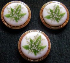 lily of the valley buttons..Czech glass.