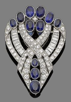 #Sapphires and diamonds in a powerful brooch. ~ETS
