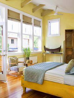 Yellow Bedrooms We Love   Dark winter, Vermont and Master bedroom