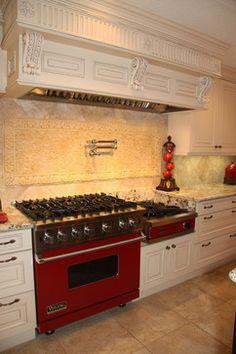 Image result for red range in white kitchen VIKING