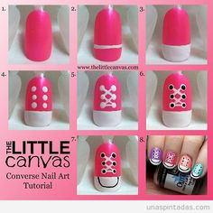 Converse Nail Art Step By Step ~ Entertainment News, Photos . Converse Nail Art Step By Step ~ Unt Nail Art Hacks, Nail Art Diy, Easy Nail Art, Cool Nail Art, Diy Nails, Cute Nails, Easy Art, Nail Art Tutorials, Simple Art