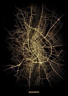City Light Maps Travel poster prints by Retina Creative Map Wall Art, Map Art, Cyberpunk, City Map Poster, Map Wallpaper, Abstract City, Map Design, Graphic Design, City Maps