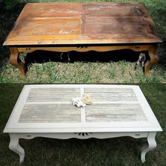 Upcycled shabby chic coffee table ~ From: *The Brambleberry Cottage*