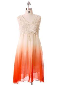 #Chicwish Crochet Gradient Dress in Orangered