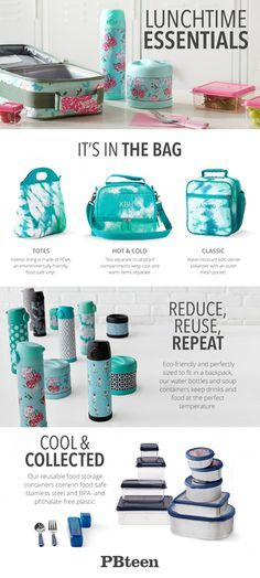 Reusable lunch bags, water bottles and food storage eliminate packaging and keep your food fresh throughout the day.