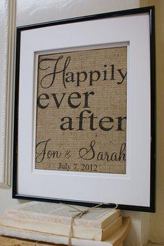 Great wedding gift!   Burlap framed Burlap Projects, Burlap Crafts, Vinyl Projects, Craft Projects, Diy Crafts, Burlap Wreaths, Inexpensive Wedding Gifts, Framed Burlap, Printing On Burlap