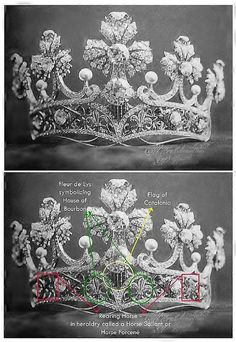 "The lost tiara ""tiara desaparecido"" is actually a circlet. This was a wedding gift to Queen Ena from the people of Catalonia. Made by the world famous art nouveau master jewelers Masriera of Barcelona, the photo does not reveal the Masriera touches that differentiate this tiara from most other gothic fleuron tiaras. The tiara was made of diamonds and pearls in a gold frame with multi-color translucent enameling (plique-a-jour) in what appears to be a ""Mary Stuart"" or ""widow's peak"" frame."