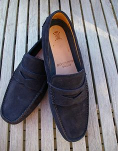 Recent purchase: Sutor Mantellassi 'Gommini' loafers in navy suede.