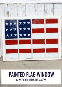 DIY Painted Flag Window | simplykierste.com - love this 4th of July decor for your home!