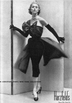 Jean Patchett in Christian Dior for Harzfeld's ad, 1951