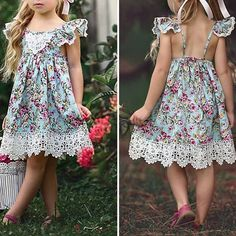 Flower Printed Toddlers Girls Kids Sleeveless Summer Lace Backless Dresses is cheap, come to NewChic and buy cute flower girl dresses now! Girls Summer Outfits, Toddler Girl Outfits, Summer Dresses, Cute Flower Girl Dresses, Girls Dresses, Tank Girl, Cotton Dresses, Dresses For Sale, Backless Dresses