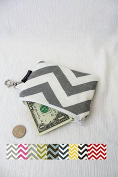 Zipper Pouch Wallet Coin Purse Ash Gray Chevron with by marandalee, $12.00
