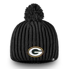 Women s Green Bay Packers NFL Pro Line by Fanatics Branded Black Iconic Ace  Knit Hat With Pom e414f79b4