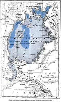 A Map of the Aral Sea as it was Surveyed in 1849 and What Remains of it in 2012 | Technically this is more of a lost sea than a lost town but towns have been impacted. The dramatic change is the result of massive irrigation projects by Russia that have been draining the Sea for the last several decades.
