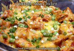 Slow cooker chicken salsa.   Location of recipe on photo