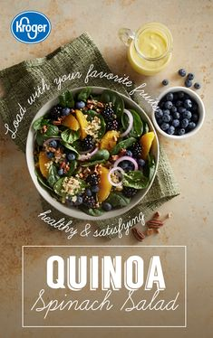 Gluten free, dairy free and ready in 25 minutes. Quinoa adds protein and fiber while oranges, blueberries and blackberries add a sweet, juicy bite to this fresh take on a spinach salad. Healthy Recipes Tips For Everyone Diet Recipes, Vegetarian Recipes, Chicken Recipes, Cooking Recipes, Healthy Recipes, Quinoa Spinach, Spinach Salad Recipes, Quinoa Salad, Vegetarian