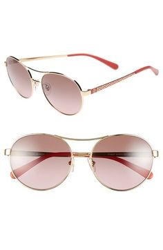 Tory Burch 'M Round' 56mm Metal Sunglasses available at #Nordstrom