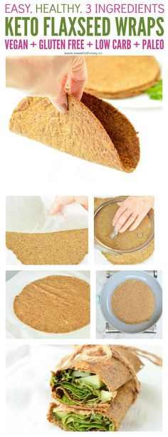 Flaxseed Wraps are NO carbs easy keto wraps recipe made with 4 ingredients. Flaxseed Wraps are NO carbs easy keto wraps recipe made with 4 ingredients. An easy protein wrap recipe to enjoy finger food wh Flax Seed Recipes, Almond Recipes, Low Carb Recipes, Cooking Recipes, Healthy Recipes, Flaxseed Meal Recipes, Salad Recipes, Vegan Keto Recipes, Entree Recipes