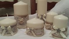 Candele decorate con pizzo
